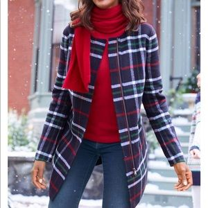 NEW Talbots Petite Double Face Plaid Topper Wool Blend size SP new with tags